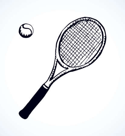 Squash stretched circle net racquetball league gear set isolated on white background. Freehand outline ink hand drawn picture   sign sketchy in art retro scribble style pen on paper. Closeup top view Illustration