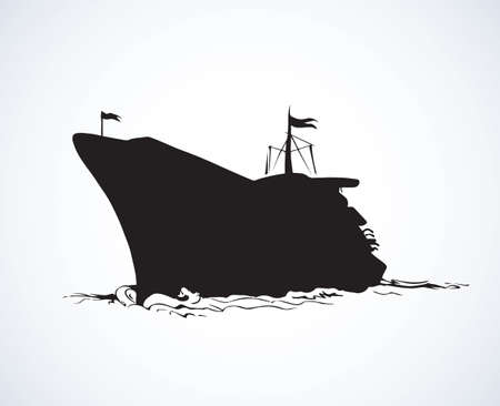 Big obsolete naval SS isolated on white backdrop. Dark ink hand drawn picture in art antique style pen on paper. Side view with space for text on sky Ilustracja