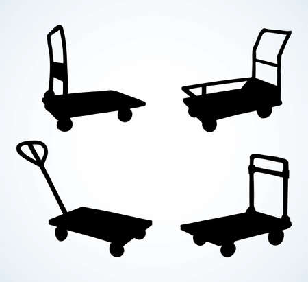 Big empty forklift handcart dolly basket on white platform backdrop. Black line ink hand drawn ship box wagon  sign pictogram emblem in modern art silhouette contour print style on space for text