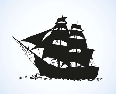 Obsolete wooden classic tall buccaneer sailfish isolated on white backdrop. Black ink hand drawn picture icon sketchy in art retro doodle style pen on paper. Side view with space for text on sky