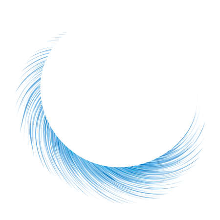 Bright cold pure cyan blast burst shape drawing art web design. Fuzzy wash spin line form sign  . Light text space modern artist creative line style. Azure color winter air wind decor emblem symbol