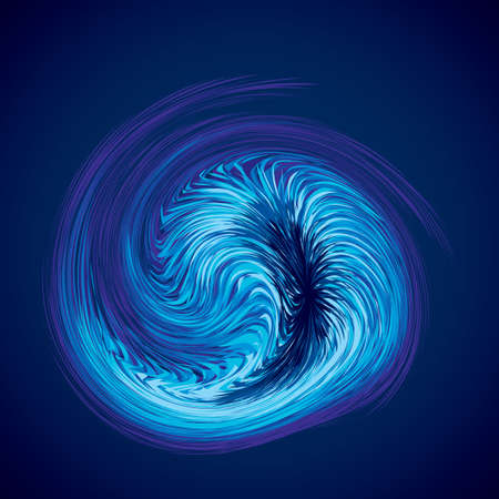 Bright cold cyan circular midpoint shape mystic art design. Sacred magic soul disc sphere form in modern creative tech line style. Navy aqua color motley power blast ball symbol on dark fond for text