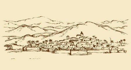 Old eastern biblical rural scenic view with stone wall and edifice. Freehand outline ink hand drawn picture sketch in art retro engraved graphic style pen on paper and space for text on sky background Illusztráció