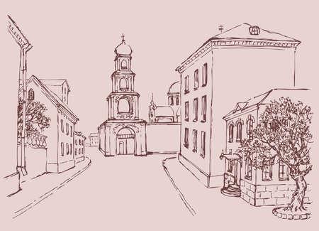 Vector cityscape. The architectural complex of the old city wall and the bell tower with Orthodox Cathedral of two-storey houses 矢量图像