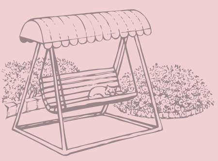 Vector sketch drawing bench-swing with a sun canopy near a blossoming flower beds Vettoriali