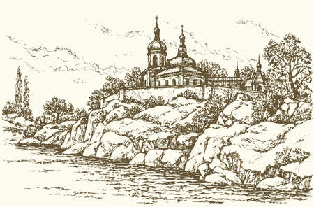 Old edifice of orthodox monastery in rocks over rivulet. Vector monochrome freehand ink drawn background sketchy in art scrawl antiquity style pen on paper with space for text on sky