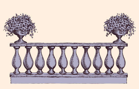 Romantic classic outdoor elegant carving newel bannister with bloom petunia in old bowl on luxury patio with space for text on sky. Freehand ink hand drawn picture background sketch in art doodle style pen on paper