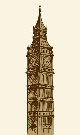 Big Ben in Elizabeth Steeple, old Great Bell at Westminster abbey Palace isolated against white sky. Freehand outline ink drawn background sketch in art engraving retro style pen on paper Illusztráció