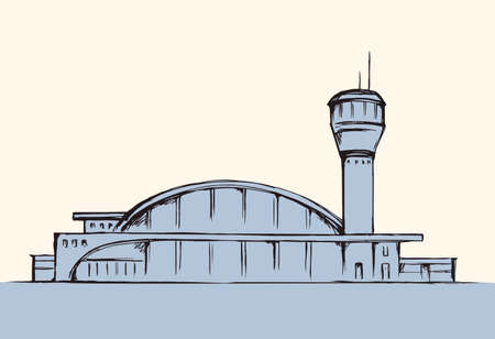 Urban airfield port observation house on white field. Freehand outline black hand drawn jet avia trip aerodrome gate design  sketchy in modern doodle cartoon style pen on paper with space for text