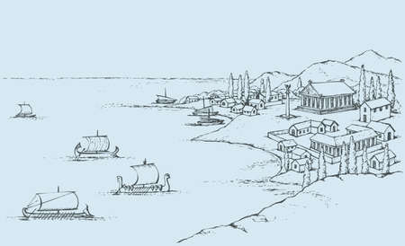Rocky coast with tall cypress trees and ancient Greek buildings, which swim sailboats. Vector monochrome freehand drawn sketching background in style of antiquity pen on paper. Bird's eye view with space for text