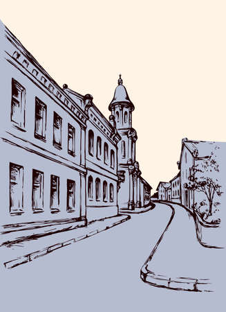 Aged romantic summer downtown place with old medieval Ivano-Frankivsk edifice. Freehand outline ink hand drawn Ivano-Frankovsk sketchy in art retro doodle style and space for text on white evening sky Çizim