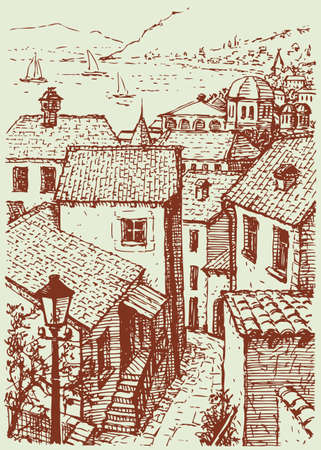 Vector cityscape. The old narrow street with houses under the shingles, going down to the sea