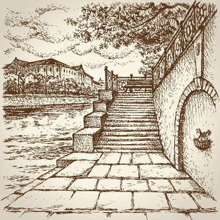 Lane along quay, three-storey edifice, lanterns and benches on dike. Vector monochrome freehand linear ink drawn background sketchy in art scribble antiquity style pen on paper with space for text on sky