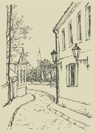 Vector landscape. The narrow streets of old town with access to the park near the church