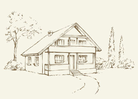Modern backyard scenic view with new build farmstead abode edifice design. Freehand linear black ink hand drawn picture plan sketchy in art retro doodle style with space for text on white sky backdrop
