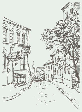 Vector cityscape. A narrow street with old houses down to the city park and the church 向量圖像