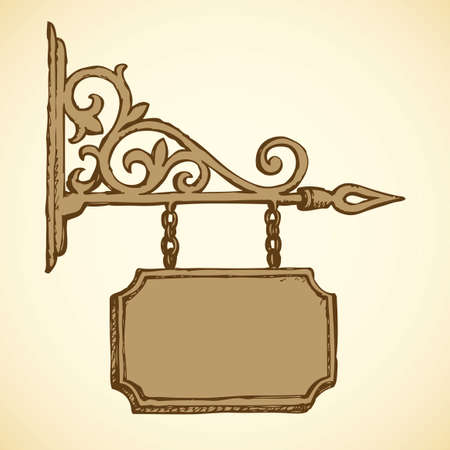 Road store advice render publicity old-fashioned curl forged shield plaque label bulletin for ad note text name design. Freehand ink drawn icon sketch in art revival style pen on paper space backdrop 矢量图像