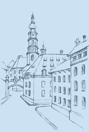 Vector architectural landscape. Street of an old European town, leading to the chapel