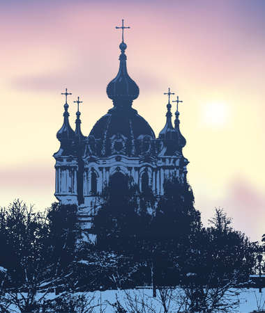 Vector image. Evening winter landscape of the city overlooking the St. Andrew's Church. Kiev, Ukraine