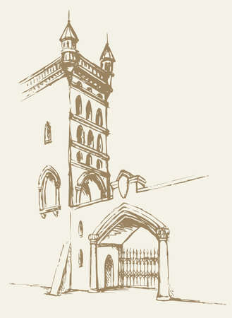 Aged romantic downtown scenic place. Stone chapel edifice entry yard arc on white sky. Freehand outline black ink hand drawn religious dome picture in art doodle style pencil on paper space for text