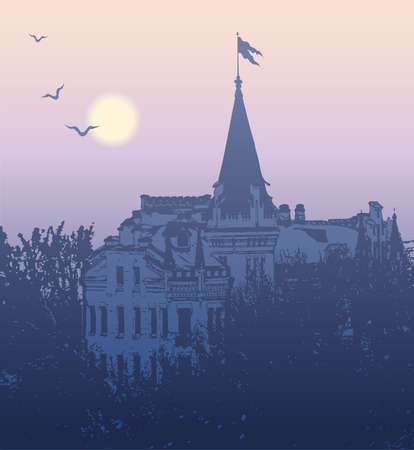 Vector image. Landscape view of the mysterious castle in the morning twilight