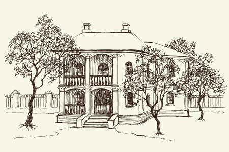 Vector landscape. Sketch drawing of the old house among the orchard