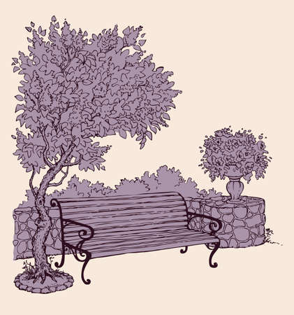 Cozy old plank seat on sidewalk at stone fence isolated on white backdrop. Freehand outline ink hand drawn picture sketchy in art doodle graphic style pen on paper with space for text on evening sky