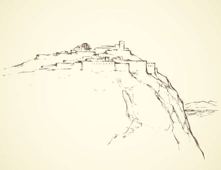 Old eastern biblical view of stone wall palace ruin on mount at sea. Freehand outline ink hand drawn picture in art retro engraved graphic style pen on paper and space for text on white sky background
