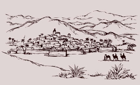 Old eastern xmas journey bible judaic valley desert scene. Historic followers go to east arabian palm hill country. Black ink hand drawing noel gospel story picture engraved as vintage art graphic symbol card
