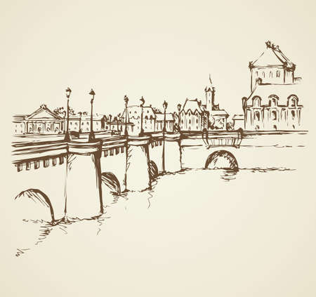 Old famous stone bridgework road, Ile de la Cite. Freehand outline ink hand drawn picture sketchy in art retro doodle contour style pen on paper. Panoramic scenic view with space for text on white sky