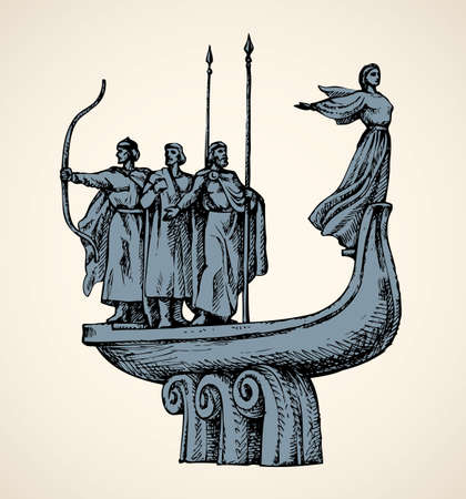 Statuette mythical initiator of Kyiv town on Dnepr river: brothers Kiy, Schek, Khoryv and sister Lybid with space for text on white sky. Monochrome gray freehand ink drawn background in engraving style pen on paper