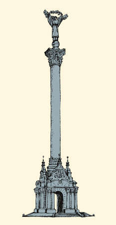 Independence stele: figure of angel on tall stand in center of Kyiv, capital of Ukraine. Monochrome freehand outline ink hand drawn picture sketchy in retro style pen on paper with space for text white sky background
