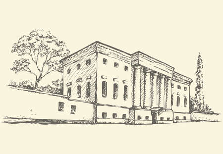 Massive two-storey building with a colonnade and a high fence, which is entrance to park. Vector monochrome sketch of the urban landscape of the old street.