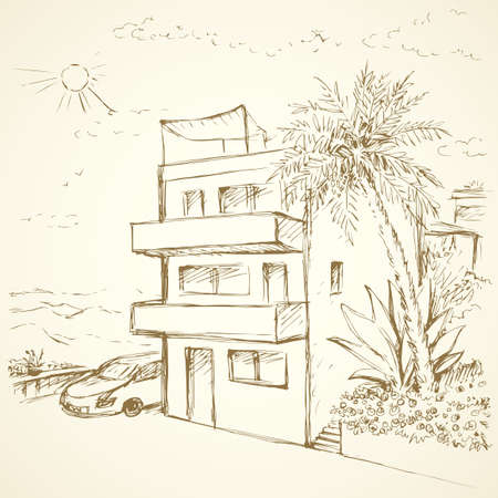 Old eastern courtyard scenic view with cozy abode edifice and modern vehicle. Freehand outline ink hand drawn picture sketchy in art retro doodle contour style pen on paper with space for text on sky