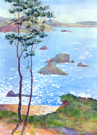 Watercolor landscape. On a steep beach rose tree
