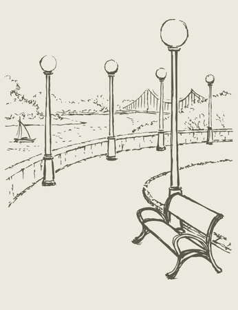 Vector drawing. Sketch of a landscape with a river. Bench and lights along the road of the park