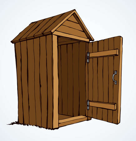 Grunge small hillbilly privy pee cubicle stall set on light paper text space. Outline brown ink hand drawn camp poop waste hygiene poo  pictogram in art ancient doodle style. Close up line view
