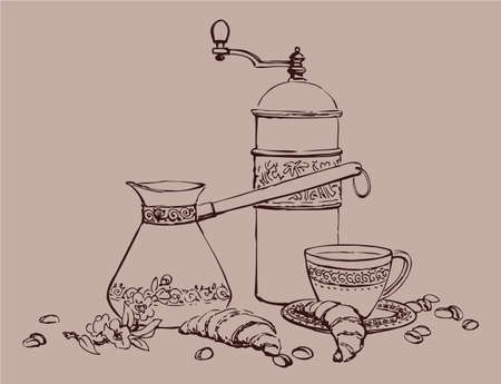Vector still life of coffee. An old hand grinder, arabian cezve, coffee cup on a saucer with croissants and grains of coffee