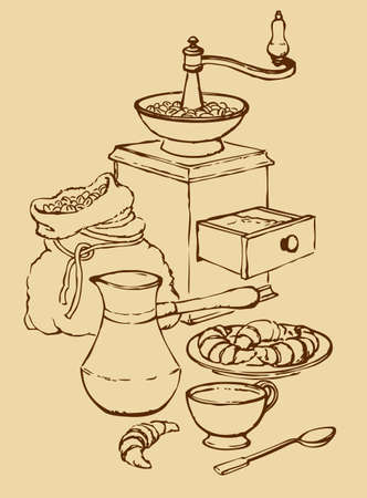 Vector still life. Cup of aromatic coffee with croissants, zhezol, a bag of coffee beans and old coffee mill