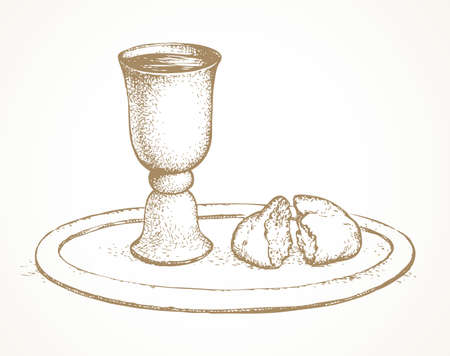 Symbolic antique wooden table still life. Broken unleaven loaf, grape juice in old golden grail goblet on white card space. Chaplain medieval Lord grace object logo sign icon. Ancient retro art sketch