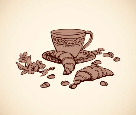 Kitchen still life of bun, bowl with fresh hot brazil chocolate cocoa isolated on white background. Hand drawn picture sketch in art retro graphic engraving style. Closeup and space for text