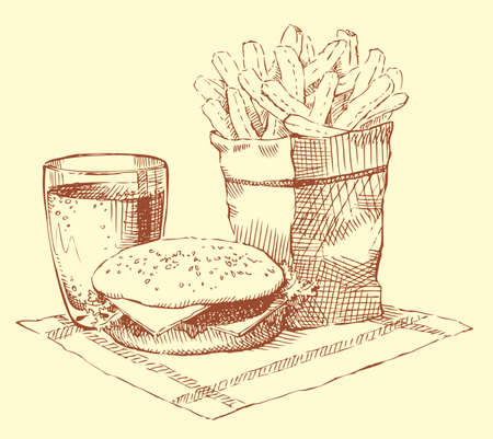 Vector still-life. A fresh breakfast: a hamburger, French fries and a drink on a napkin 矢量图像