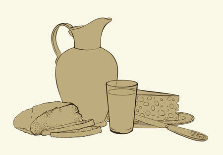 Appetizing old kitchen table still life. Traditional nutrient cuisine isolated on white backdrop. Outline ink hand drawn picture sketchy in art retro engraving graphic style with space for text