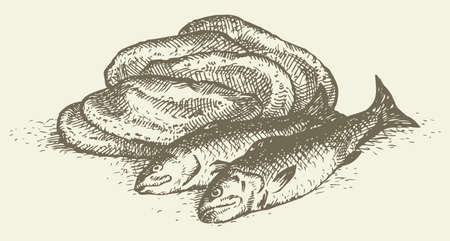 Vector sketch. Still life of a simple peasant food from the biblical story: five loaves and two fishes
