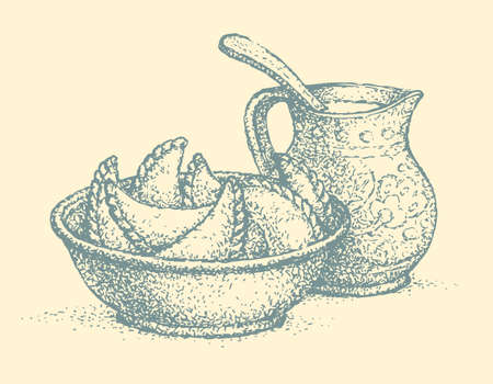 Vector still life. Traditional Ukrainian dish: dumplings with sour cream