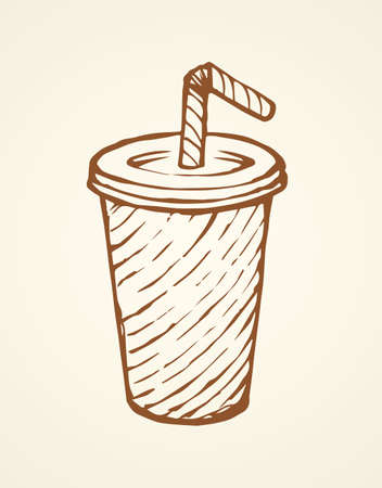 Pop plastic tare of cool ice gas softdrink coctail on white background. Line black ink hand drawn mug logo emblem sketch in art scribble engraving style pen on paper. Close up view with space for text