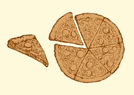 Appetizing traditional crust cheesy flatbread isolated on white background. Outline ink hand drawn picture symbol sketch in art retro doodle graphic style pencil on paper with space for text. Top view