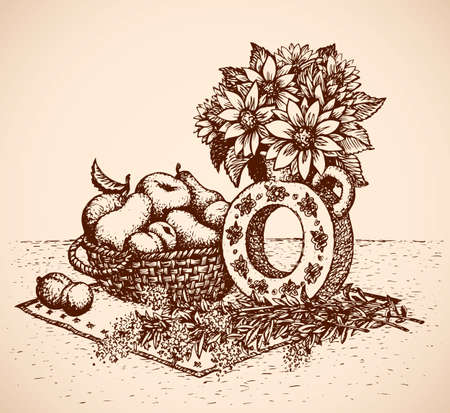 Slavic folklore old rural eat kitchen still life. Gerberas in pot. Freehand outline ink hand drawn picture backdrop sketchy in art doodle graphic style pen on paper. Closeup view with space for text