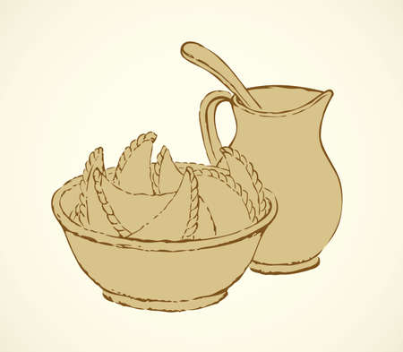 Appetizing old kitchen table still life. Hot meat or potato filled unleavened pirogi with sour cream on white backdrop. Outline ink drawn picture sketch in art retro engraving style and space for text