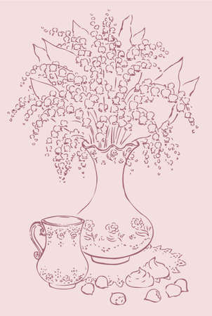 Vector still life with elegant vase of lilies of the valley and a cup of coffee with chocolates and hazelnuts